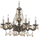 CLOSEOUT SPECIAL - Traditional Crystal Collection Wrought Iron Chandelier in Venetian Bronze w/Golden Teak Swarovski Elements Crystal.
