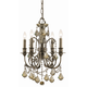 Dawson Collection Wrought Iron Mini Chandelier in English Bronze