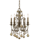 Dawson Collection Wrought Iron Mini Chandelier in English Bronze w/Golden Teak Swarovski Elements Crystal.