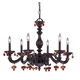 CLOSEOUT SPECIAL - Abbie Wrt Iron Chandelier Drpd with Amber Murano Crys Drops