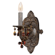 Crystorama 5201-VB-AMBER Sutton Collection Natural Wrought Iron Wall Sconce Accented with Murrano Crystal