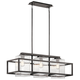 Wright Outdoor Linear Chandelier 3 Light in Weathered Zinc