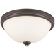 Shadowglen 3 Light Flush Mount In Lathan Bronze w/Gold Highlights and Etched White Glass Shade