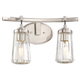 Poleis 2 Light Bath In Brushed Nickel w/Clear Glass Shade