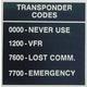 Transponder Codes Placard (2 1/4 in. x 2 1/4 in.)