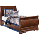 Wilmington Twin Sleigh Bed in Dark Red/Brown
