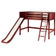 Maxtrix Bare Bone Mid Loft (Low/Low) Panel Bedroom Set in Chestnut (Angle Ladder and Slide)