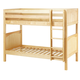 Maxtrix Bare Bone Twin Size Medium Bunk (2 Low/2 High) Panel Bed with Straight Ladder in Natural GET ITNP