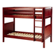 Maxtrix Bare Bone Twin Size Medium Bunk (2 Low/2 High) Panel Bed with Straight Ladder in Chestnut GET ITCP