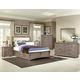 All-American Transitions 4 Piece Upholstered Bedroom Set with 1 Side Storage in Driftwood Oak
