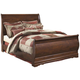 Wilmington Queen Sleigh Bed in Dark Red/Brown