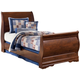 Wilmington Full Sleigh Bed in Dark Red/Brown