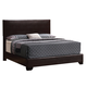 Coaster Conner Queen Platform Bed in Dark Brown Faux Leather & Walnut 300261Q