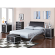 Coaster LeClair Youth 4pc Platform Bedroom Set in Silver and Black 300200