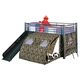 Coaster Youth Twin Tent Loft Bed in Black with Camouflage 7470