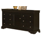 New Classic Belle Rose 6 Drawer Dresser in Black Cherry Finish 00-013-050
