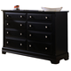 All-American Lodge Collection 6-Drawer Double Dresser in Black