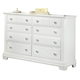 All-American Cottage Collection 6-Drawer Double Dresser in Snow White