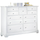 All-American Cottage Collection 9-Drawer Triple Dresser in Snow White