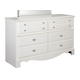 Standard Furniture Spring Rose Six Drawer Dresser in White Pearlescent 50259