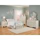 Standard Furniture Spring Rose Metal Bedroom 4pc Set in White Pearlescent 50250