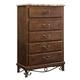 Standard Furniture Santa Cruz Five Drawer Chest w/ Marbella Top in Cherry 56205