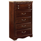 Standard Furniture Triomphe Five Drawer Chest w/ Marbella Top in Cherry 57205