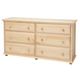 Maxtrix 6 Drawer Dresser with Crown and Base in Natural BIG 6-001