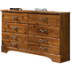 Standard Furniture Hester Heights Six Drawer Dresser in Dark Old Fashion Wood 61159