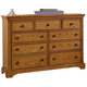 All-American Mother's Collection 7-Drawer Dresser in Medium Oak