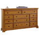 All-American Mother's Collection 8-Drawer Dresser in Medium Oak