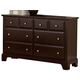 All-American Hamilton/Franklin 6-Drawer Dresser in Merlot