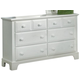 All-American Jefferson/Madison 6-Drawer Dresser in Snow White
