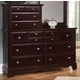 All-American Hamilton/Franklin 10-Drawer Vanity Dresser in Merlot
