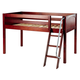 Maxtrix Bare Bone Twin Size Low Loft (Low/Low) Panel Bed with Angle Ladder in Chestnut EASY RIDERCP