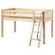 Maxtrix Bare Bone Twin Size Low Loft (Low/Low) Slat Bed with Angle Ladder in Natural EASY RIDERNS