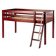 Maxtrix Bare Bone Twin Size Low Loft (Low/Low) Slat Bed with Angle Ladder in Chestnut EASY RIDERCS