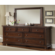 All-American Reflections 7-Drawer Triple Dresser in Dark Cherry