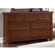 All-American Reflections 7-Drawer Triple Dresser in Medium Cherry