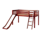 Maxtrix Bare Bone Twin Size Low Loft (Low/Low) Slat Bed with Angle Ladder and Slide in Chestnut WOWCS