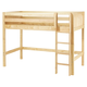 Maxtrix Bare Bone Twin Size Mid Loft (Low/Low) Panel Bed with Straight Ladder in Natural CHIPNP