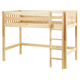 Maxtrix Bare Bone Twin Size Mid Loft (Low/Low) Slat Bed with Straight Ladder in Natural CHIPNS