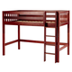Maxtrix Bare Bone Twin Size Mid Loft (Low/Low) Slat Bed with Straight Ladder in Chestnut CHIPCS