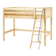 Maxtrix Bare Bone Twin Size Mid Loft (Low/Low) Panel Bed with Angle Ladder in Natural CHAPNP