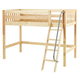 Maxtrix Bare Bone Twin Size Mid Loft (Low/Low) Slat Bed with Angle Ladder in Natural CHAPNS