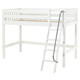 Maxtrix Bare Bone Twin Size Mid Loft (Low/Low) Slat Bed with Angle Ladder in White CHAPWS