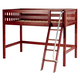 Maxtrix Bare Bone Twin Size Mid Loft (Low/Low) Slat Bed with Angle Ladder in Chestnut CHAPCS