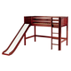 Maxtrix Bare Bone Twin Size Mid Loft (Low/Low) Panel Bed with Straight Ladder and Slide in Chestnut AWESOMECP