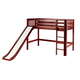 Maxtrix Bare Bone Twin Size Mid Loft (Low/Low) Slat Bed with Straight Ladder and Slide in Chestnut AWESOMECS