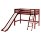Maxtrix Bare Bone Twin Size Mid Loft (Low/Low) Slat Bed with Angle Ladder and Slide in Chestnut SWEETCS